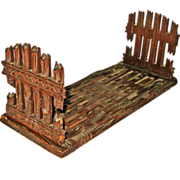 Black Forest Carved Collapsible Expanding Book Rack w/Fence Design