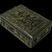 SALE Heavily Carved Black Forest Style Walnut Desk Box