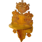 SALE Beautifully Carved Hanging Shelf, Ca. 1880 Folk Art