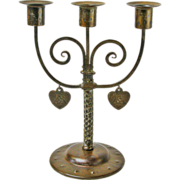SOLD Goberg Hand-Wrought Iron Three Stick Candelabra w/Dangling Hearts