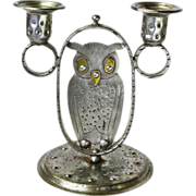 SOLD Goberg Hammered Iron & Brass Two Stick Owl Candelabra