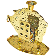 Goberg Signed Hand Hammered Brass Pig Match Holder & Candlestick, Ca. 1910