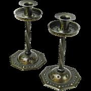 Signed Goberg Pair of Twist Stem Iron Candlesticks, Ca. 1900-20