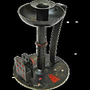 Goberg Hand Hammered Iron Chamberstick & Matchbox Holder, w/ Rare Red and Black Paint