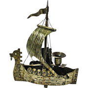 SALE Goberg Hand Hammered Iron Viking Ship Ash Tray / Candlestick, Ca. 1910-1920