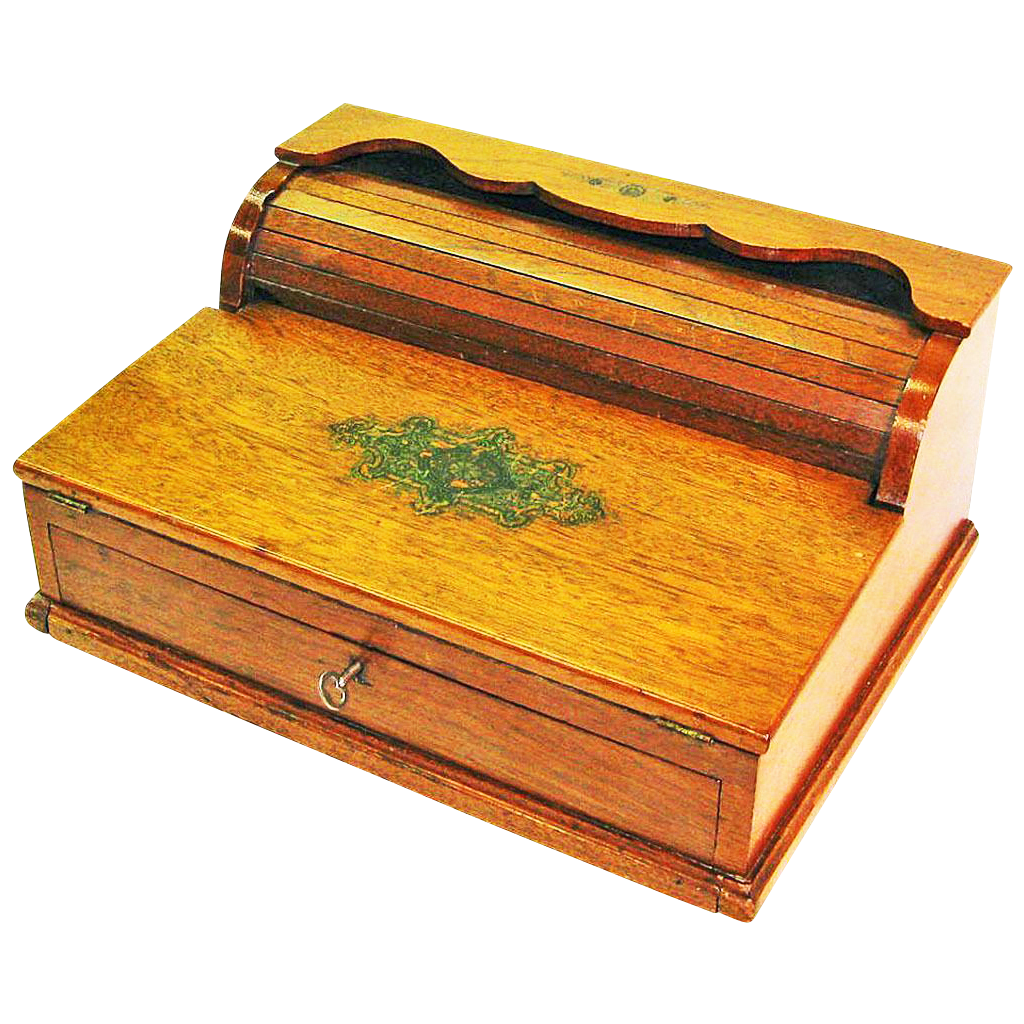 Tambour / Roll Top Ladies Walnut Lap Desk  19th Century