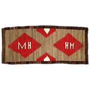 "SALE Navajo Weaving Runner , Pictorial with Initials ""M H"""