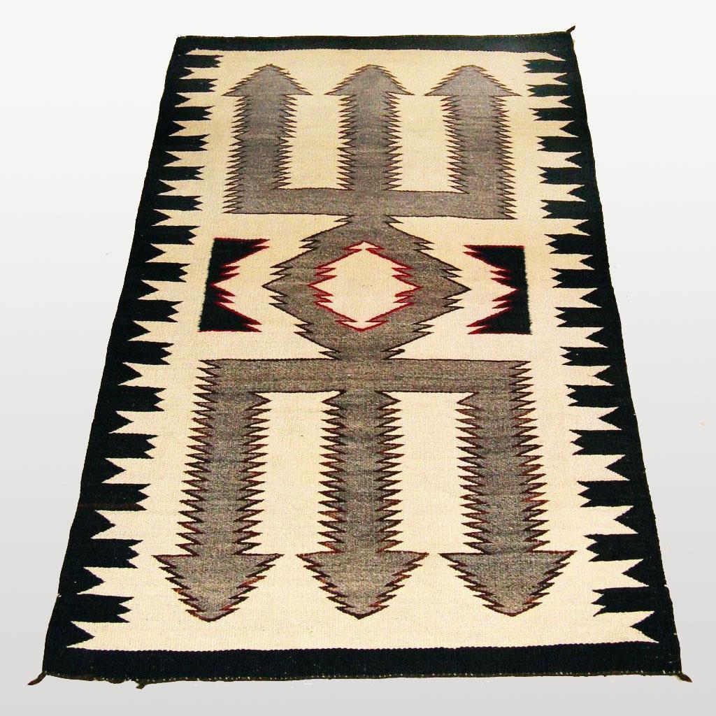 Red Mesa Trident Pattern Navajo Weaving