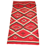 Large Transitional Navajo  Weaving with Hand-spun Wool, ca. 1900