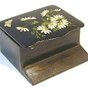 Floral Painted Papier Mache Match Safe, C. 1890