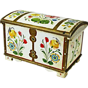 SOLD Norwegian Rosemaling Decorated Miniature Kiste / Dome Top Trunk