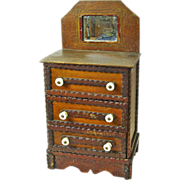 SOLD Notched Tramp Art Three Drawer Dresser with Mirror, Ca. 1910-20