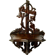 Victorian Carved Walnut Folding Wall Shelf, Ca. 1890