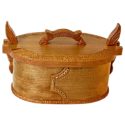 SOLD Norwegian Style Carved Oval Cherry Tine, Bride's Box, from Sweetpea Cottage Workshop