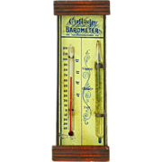 "SOLD ""Cottage Barometer"", Combined Thermometer and Storm Glass"
