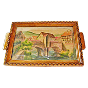 Handpainted / Pyrography French Decorative Tray, Kaysersberg, France