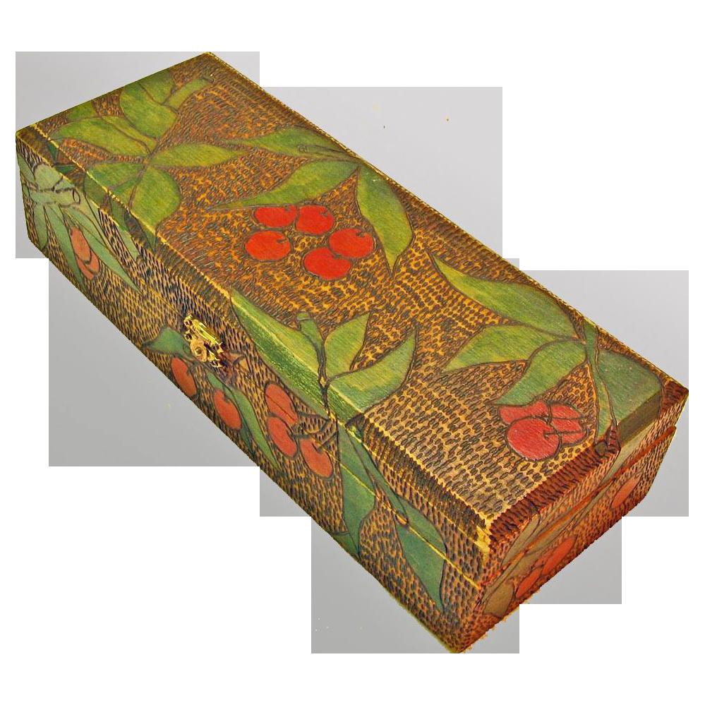 Pyrographic (Wood Burning) Painted Cherries Dresser Box
