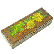 SALE Paint and Pyrography  Decorated Chrysanthemum Glove / Handkerchief Box