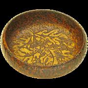 Pyrographic Coffee Table Candy Dish w/ Oak Leaf Design