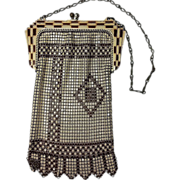 Whiting & Davis Mesh Bag with Painted Frame, Ca. 1920's-30's