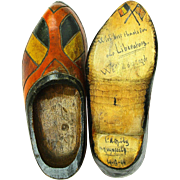 """SOLD World War II """"Liberator"""" Signed Wooden Shoes, Dated, Commemorative"""