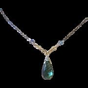 Labradorite Silver Necklace Solitaire Mixed Metals Camp Sundance Gem Bliss
