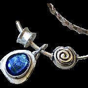 SALE Blue Dichroic Glass Bracelet, Silver Bracelet, Charms Bracelet, charms bangle, Silver ban