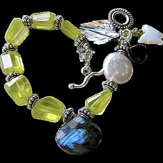 SALE Labradorite, Zircon bracelet, Abalone, Garnet, Opalite charms, Silver bracelet, Camp Sundance, Gem Bliss
