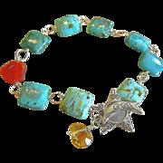 REDUCED Turquoise bracelet, Rustic, Silver charm bracelet, Camp Sundance, urban cowgirl bracel