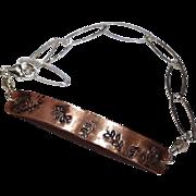 Copper Bracelet, Layering bracelet, Stamped Silver bracelet, ID bracelet, Camp Sundance Gem Bliss