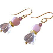 REDUCED Pink Peruvian Opal, Rose Topaz, drop earrings, Bridal, Rose Gold filled, Camp Sundance