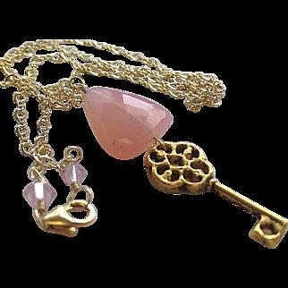 SALE Key charm necklace, Pink Chalcedony pendant necklace, Camp Sundance charm necklace