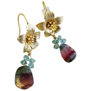 Tourmaline earrings, Watermelon Tourmaline  slices, flower hook earrings, Camp Sundance, Tourm