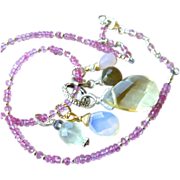 REDUCED Pink Topaz necklace, Charms necklace, Opalite, Rose Quartz, convertible bracelet, Silv