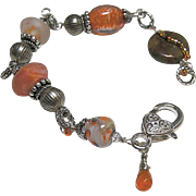 REDUCED Lampwork Silver bracelet, Glass Silver charm Bracelet, OOAK, Camp Sundance jewelry, Ge