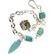 SALE Amazonite Abalone Silver layering bracelet adjustable charm bracelet Camp Sundance Gem Bl