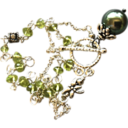 SALE Tahitian Pearl bracelet South Sea Pearl Silver Peridot bracelet Peacock green Pearl Black