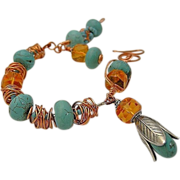 Copper, Turquoise bracelet, weave wrap, Camp Sundance, charms bracelet, Gem Bliss, rustic, urb