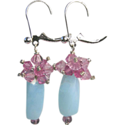 Peruvian Opal Silver earrings, pink crystal clusters, Camp Sundance, Gem Bliss