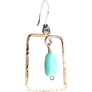 Square Copper Hoops, Peruvian Opal,Copper earrings,  Camp Sundance, Gem Bliss