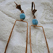 Turquoise and Copper Hoop square Camp Sundance earrings