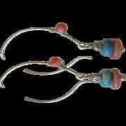 Turquoise Coral Hoops, Silver hoop earrings, dangle earrings, Camp Sundance, Gem Bliss