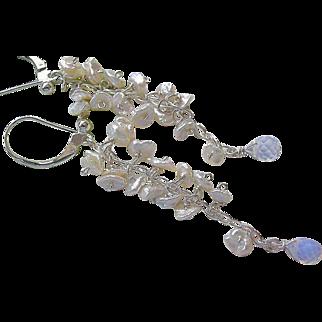 SALE Pearl cascade Earrings, Silver chandelier earrings, bridal Pearls, Camp Sundance, Gem Bliss