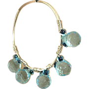 Blue CZ hoops, Silver hoop earrings, hand forged, self closing, Camp Sundance, Gem Bliss