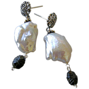 Silver Tourmaline earrings, Baroque Pearl, Pearl Earrings, ornate Silver earrings, Camp Sundan