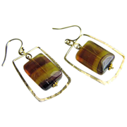 Fluorite Hoop earrings, banded Fluorite, Camp Sundance, Gold filled hoops, Gem Bliss