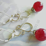 SOLD Cherry berry Silver earrings scroll drops Camp Sundance
