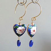 Magnolia blossoms on cobalt blue enamel hearts designer mini hoops