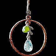 Copper hoop earrings Botanical aqua green Silver Camp Sundance