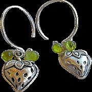 SALE Mini charm hoops, berry charm, Silver hoop earrings, Camp Sundance, Gem Bliss